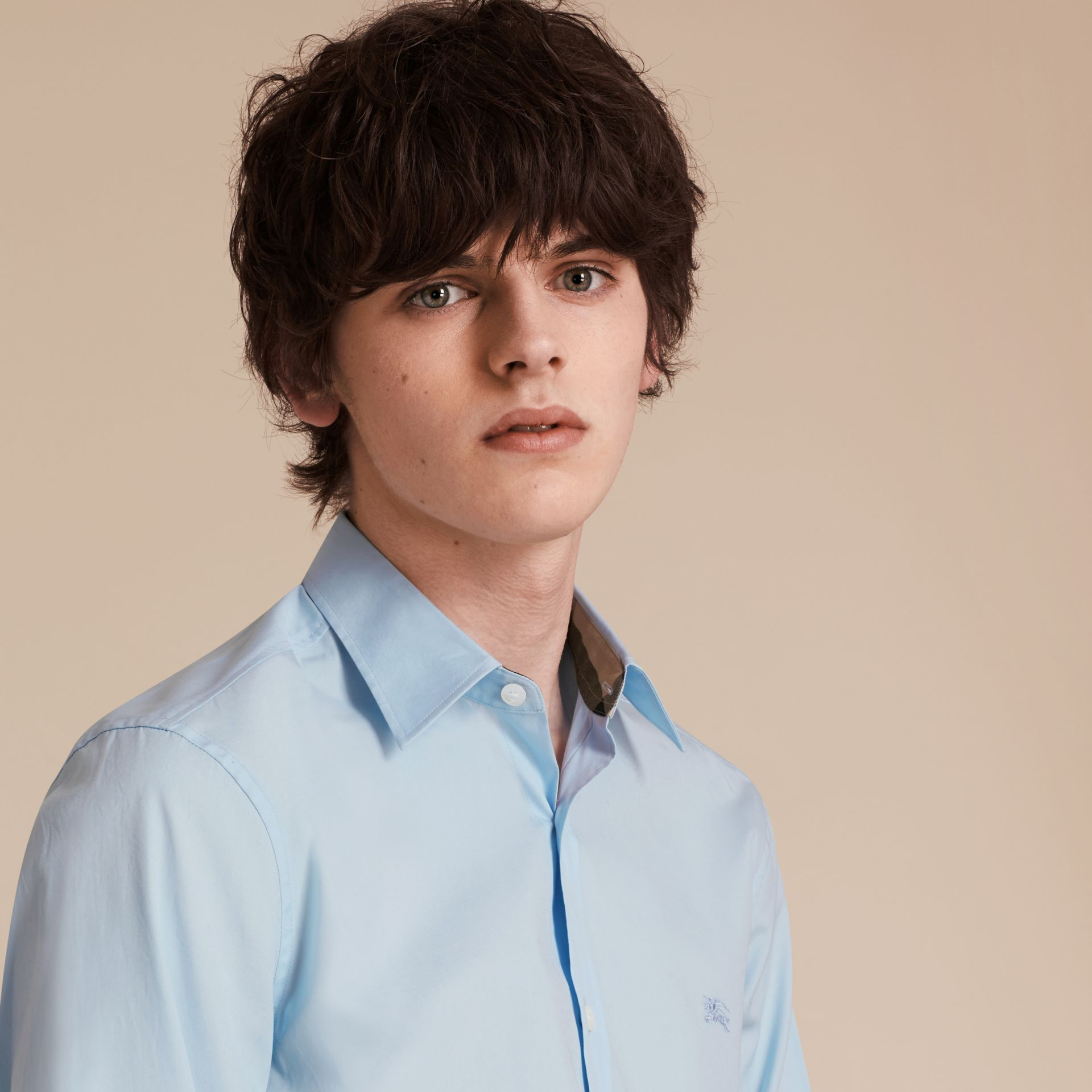 Check Detail Stretch Cotton Poplin Shirt in Pale Blue - Men | Burberry - gallery image 5