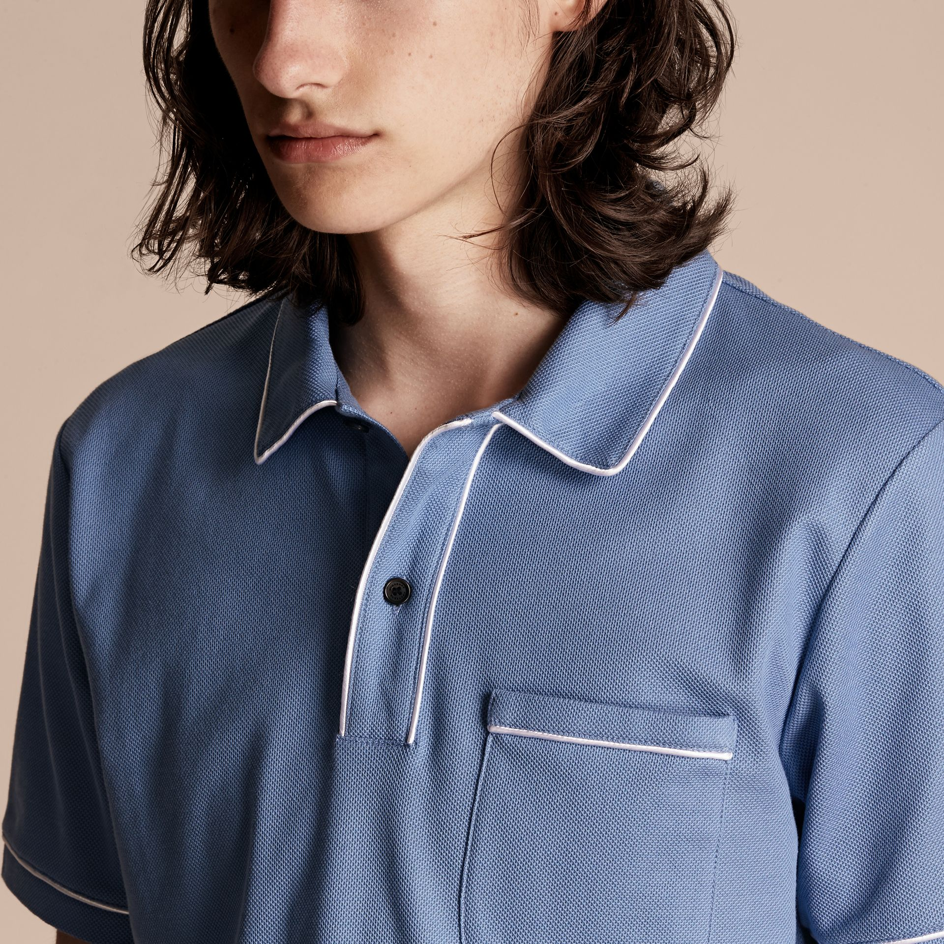 Piped Cotton Piqué Polo Shirt Light Blue - gallery image 5