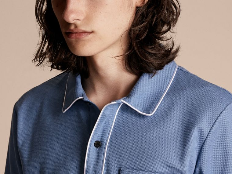 Piped Cotton Piqué Polo Shirt in Light Blue - cell image 4