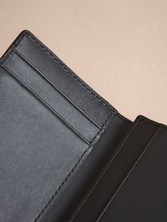 London Check and Leather Folding Card Case in Chocolate/black - Men | Burberry United Kingdom - cell image 3