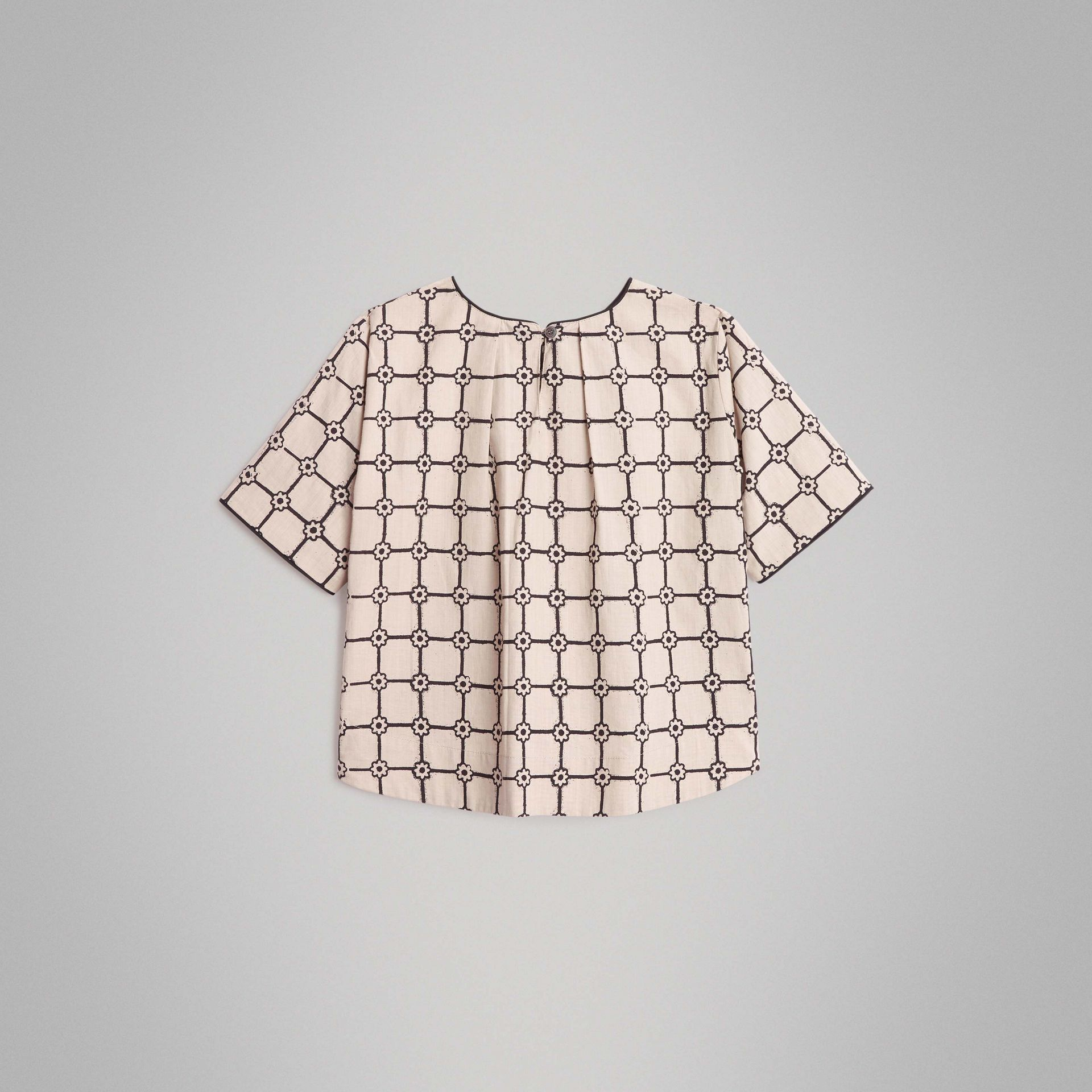 Piping Detail Flower Print Cotton Top in Stone | Burberry - gallery image 3
