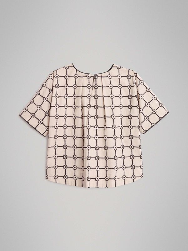 Piping Detail Flower Print Cotton Top in Stone | Burberry Australia - cell image 3