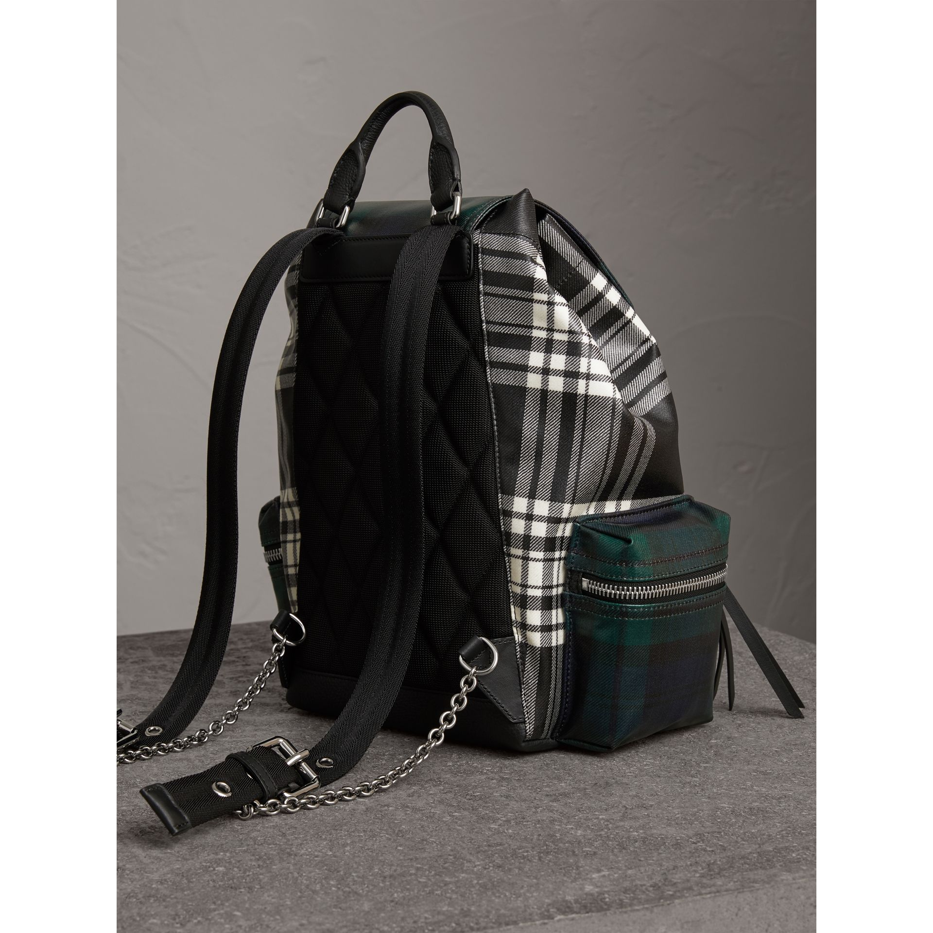 The Medium Rucksack in Laminated Tartan in Black/white - Women | Burberry - gallery image 3