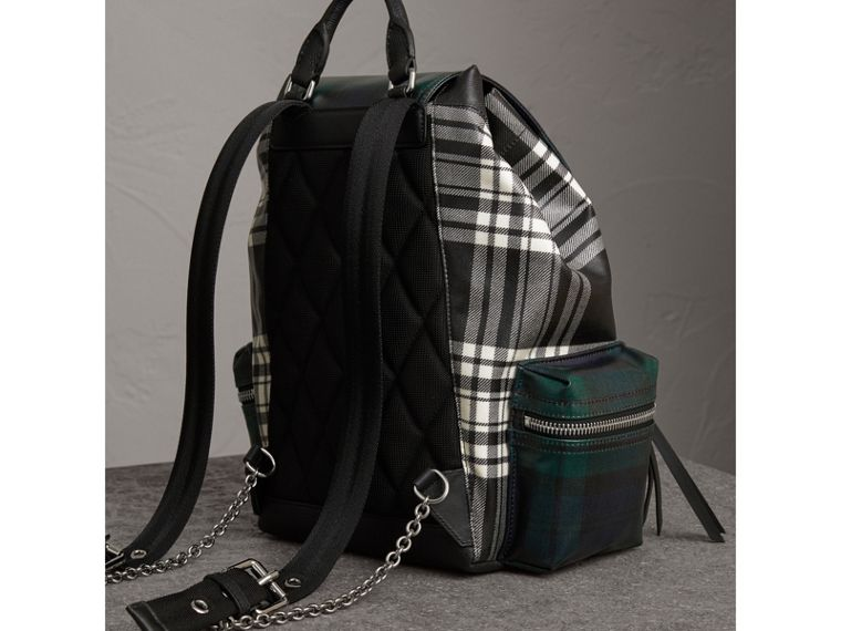 The Medium Rucksack in Laminated Tartan in Black/white - Women | Burberry Australia - cell image 4