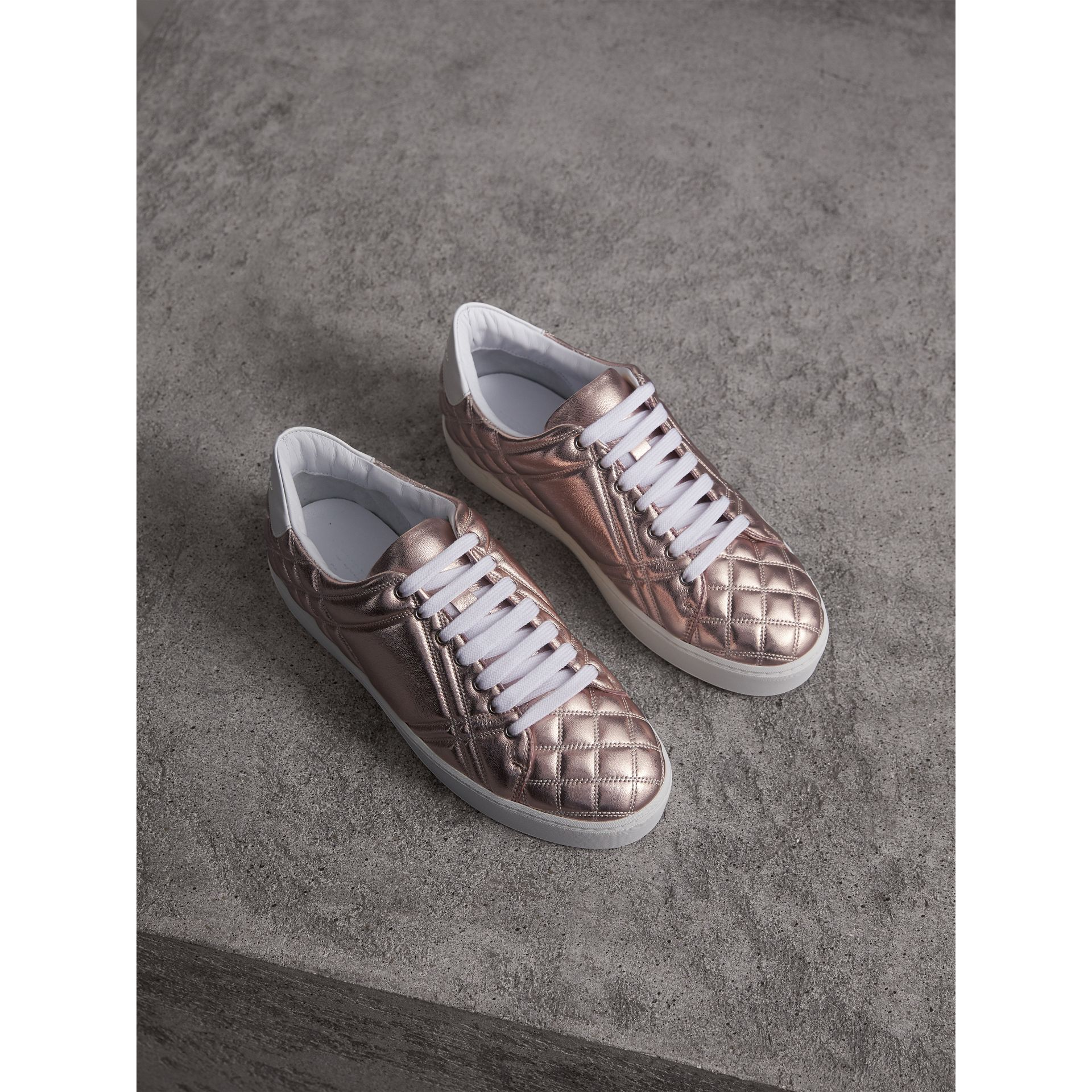Metallic Check-quilted Leather Trainers in Nude - Women | Burberry - gallery image 1
