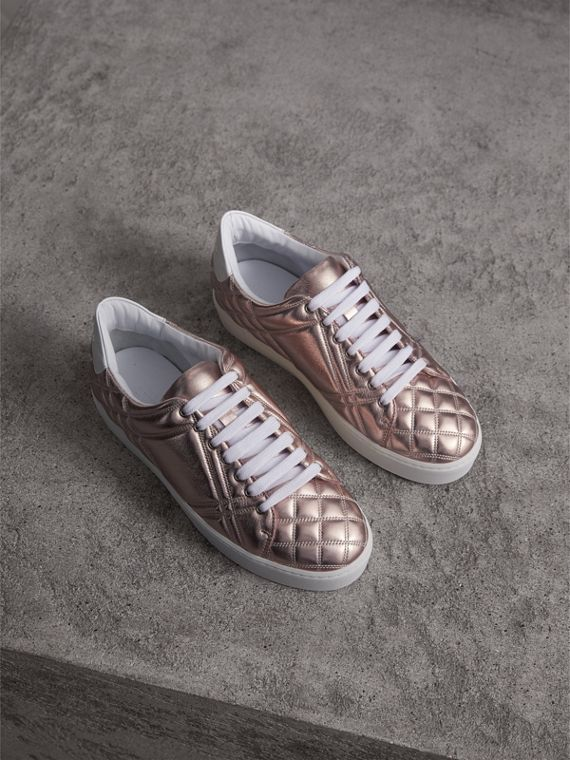 Metallic Check-quilted Leather Trainers in Nude