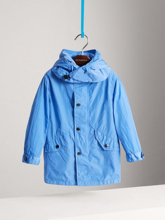 Detachable Hood Lightweight Parka Coat in Chalk Blue - Boy | Burberry - cell image 2