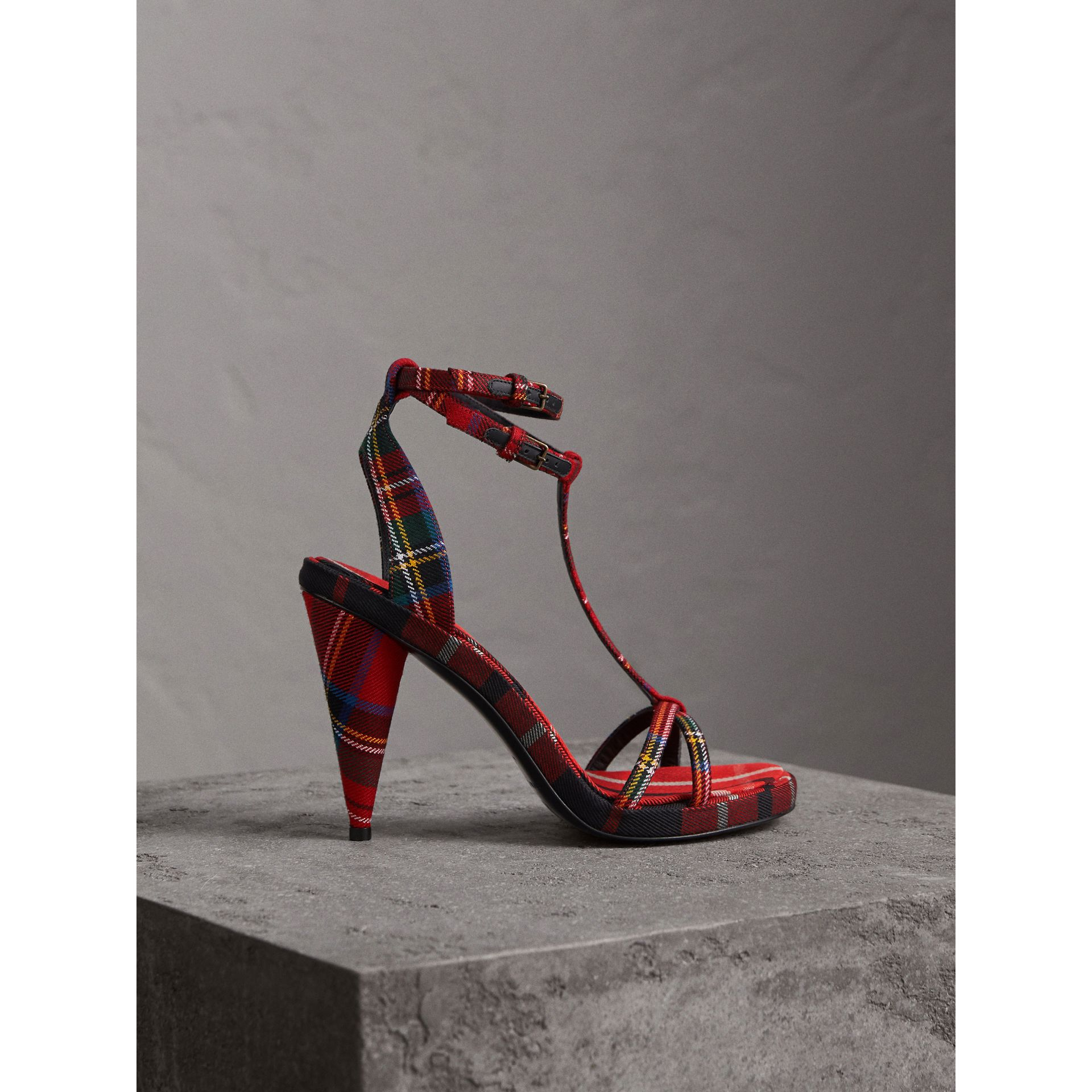 Tartan Wool Cone-heel Sandals in Vibrant Red - Women | Burberry - gallery image 1