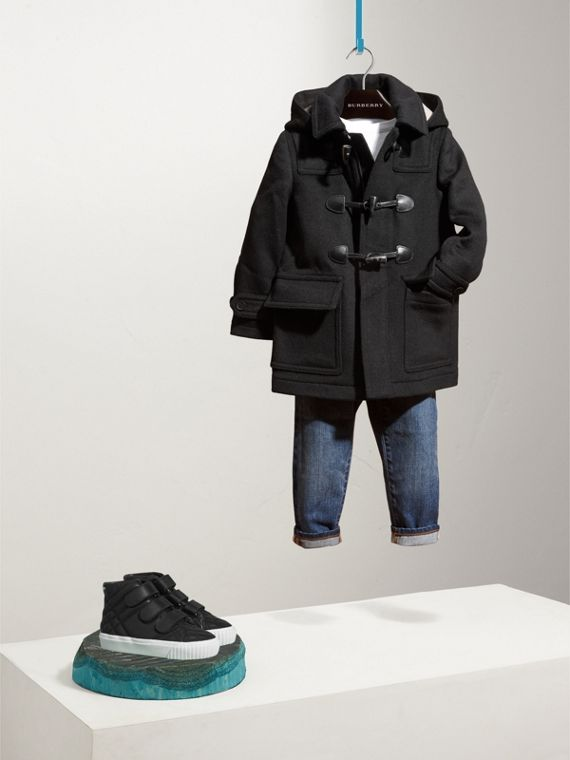 Hooded Wool Duffle Coat in Black