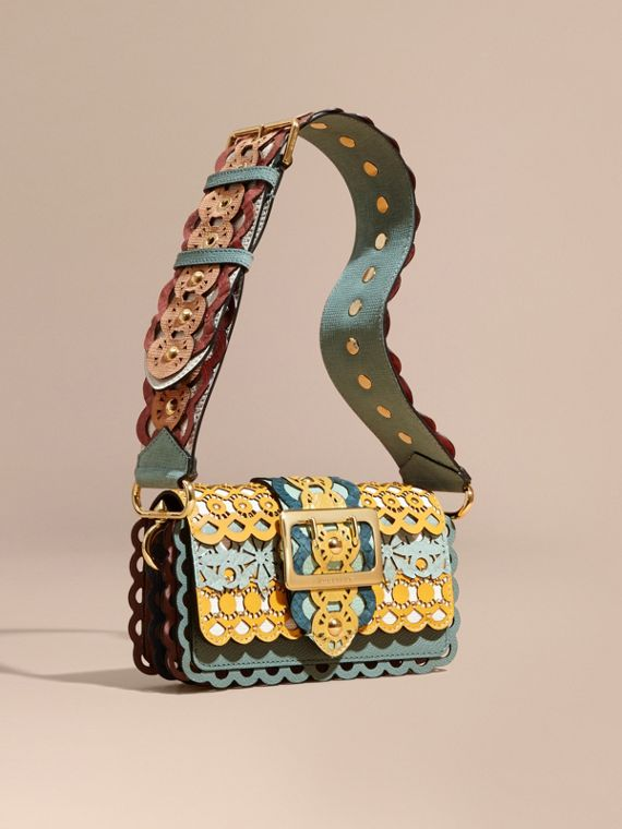 Borsa The Buckle piccola in pelle tagliata al laser e pelle di serpente