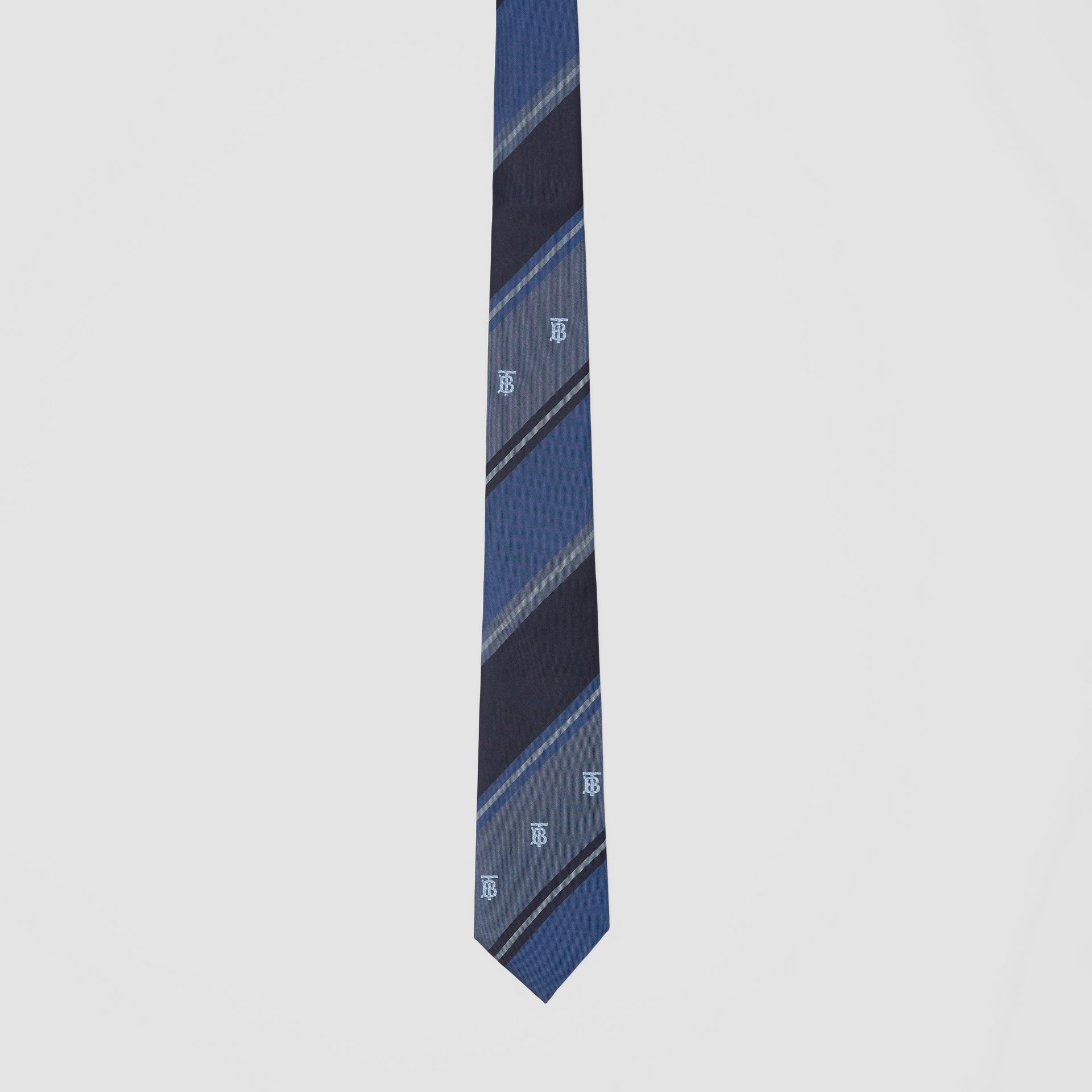 Classic Cut Monogram Motif Striped Silk Jacquard Tie in Bright Steel Blue - Men | Burberry - gallery image 3