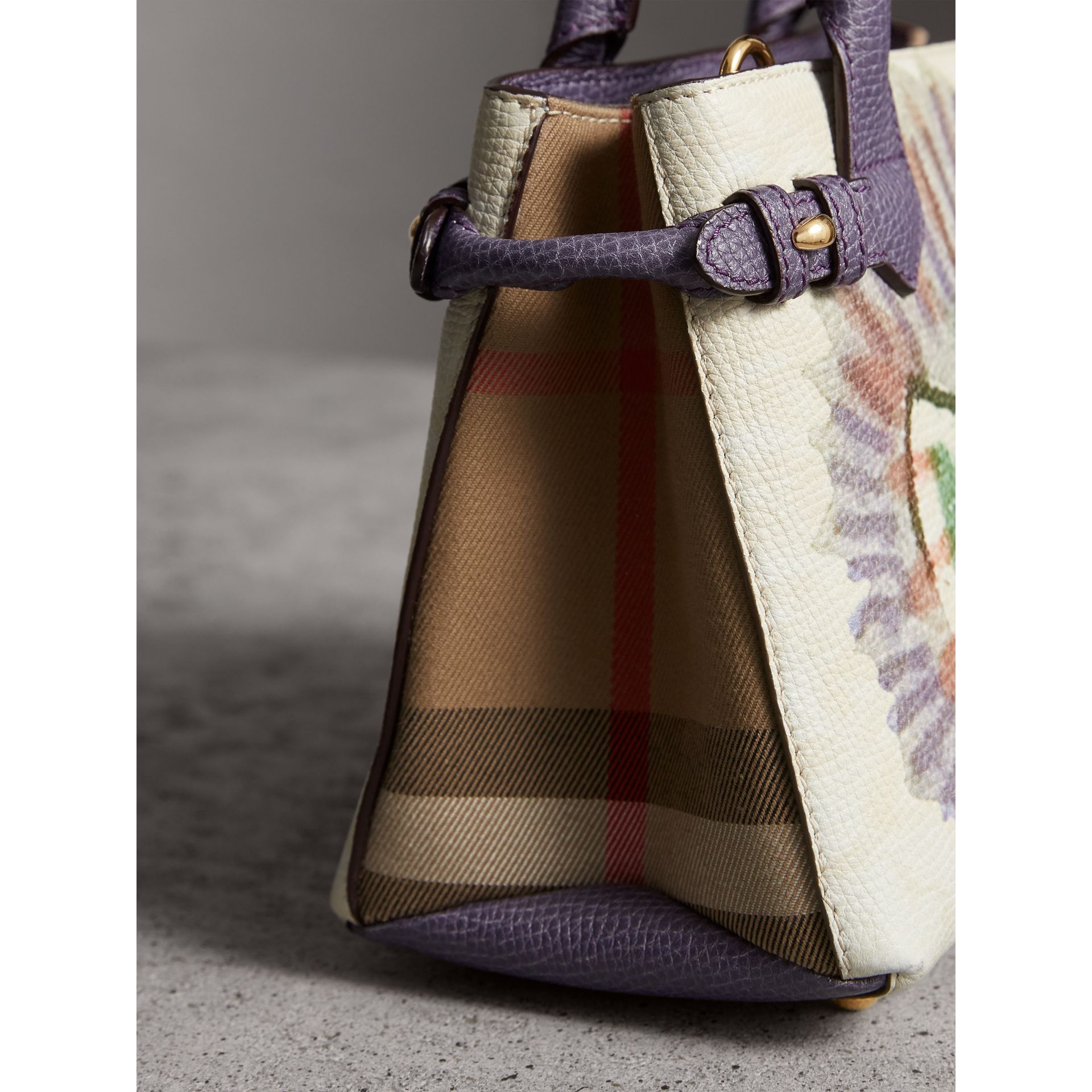 The Baby Banner in Leather with Pallas Heads Print in Dusty Violet - Women | Burberry Australia - gallery image 2