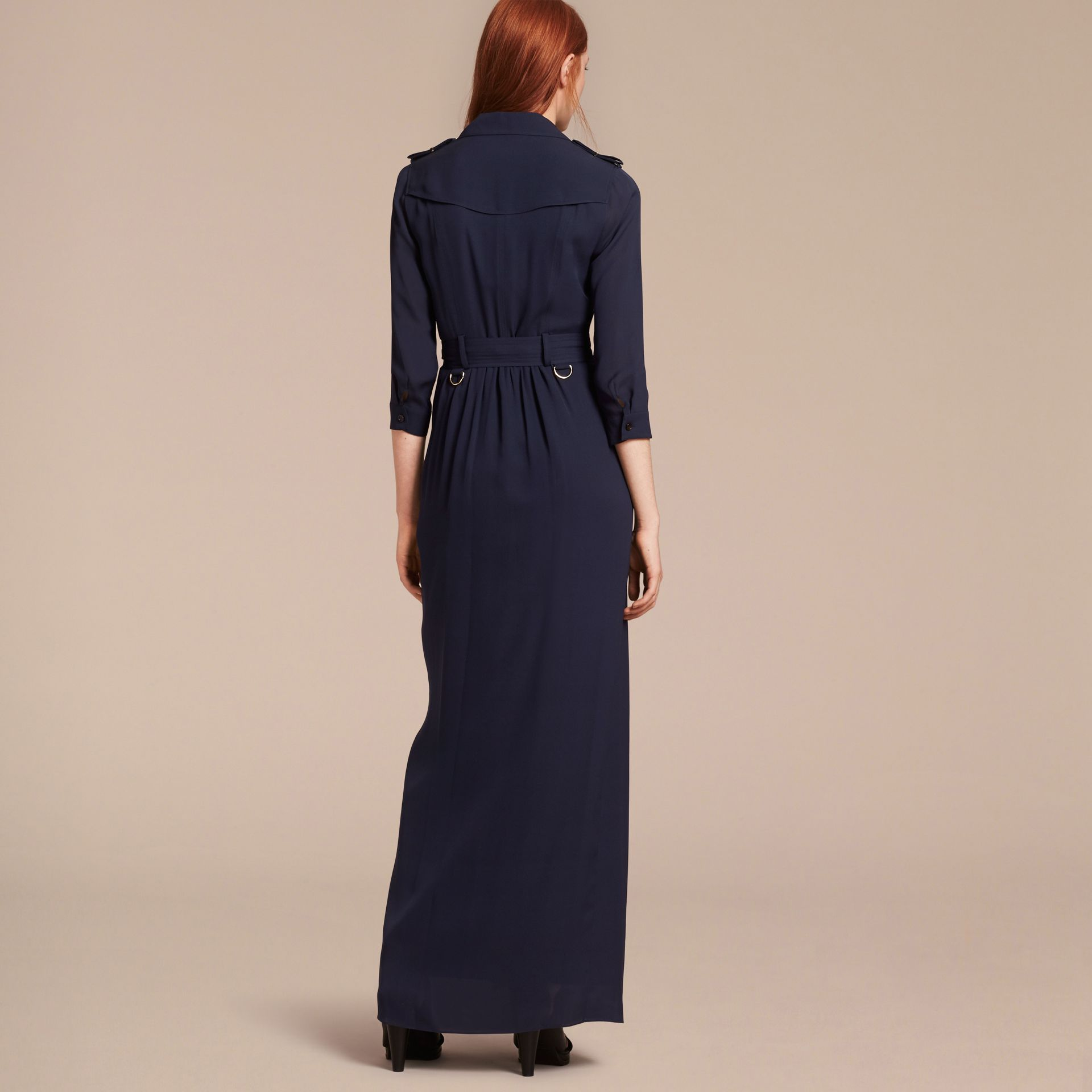 Silk Trench Dress in Navy - gallery image 3