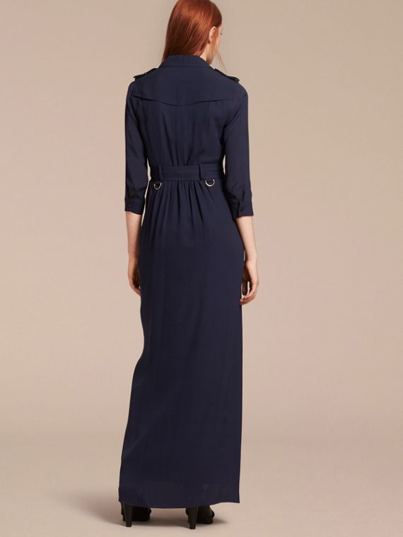 Silk Trench Dress in Navy - cell image 2