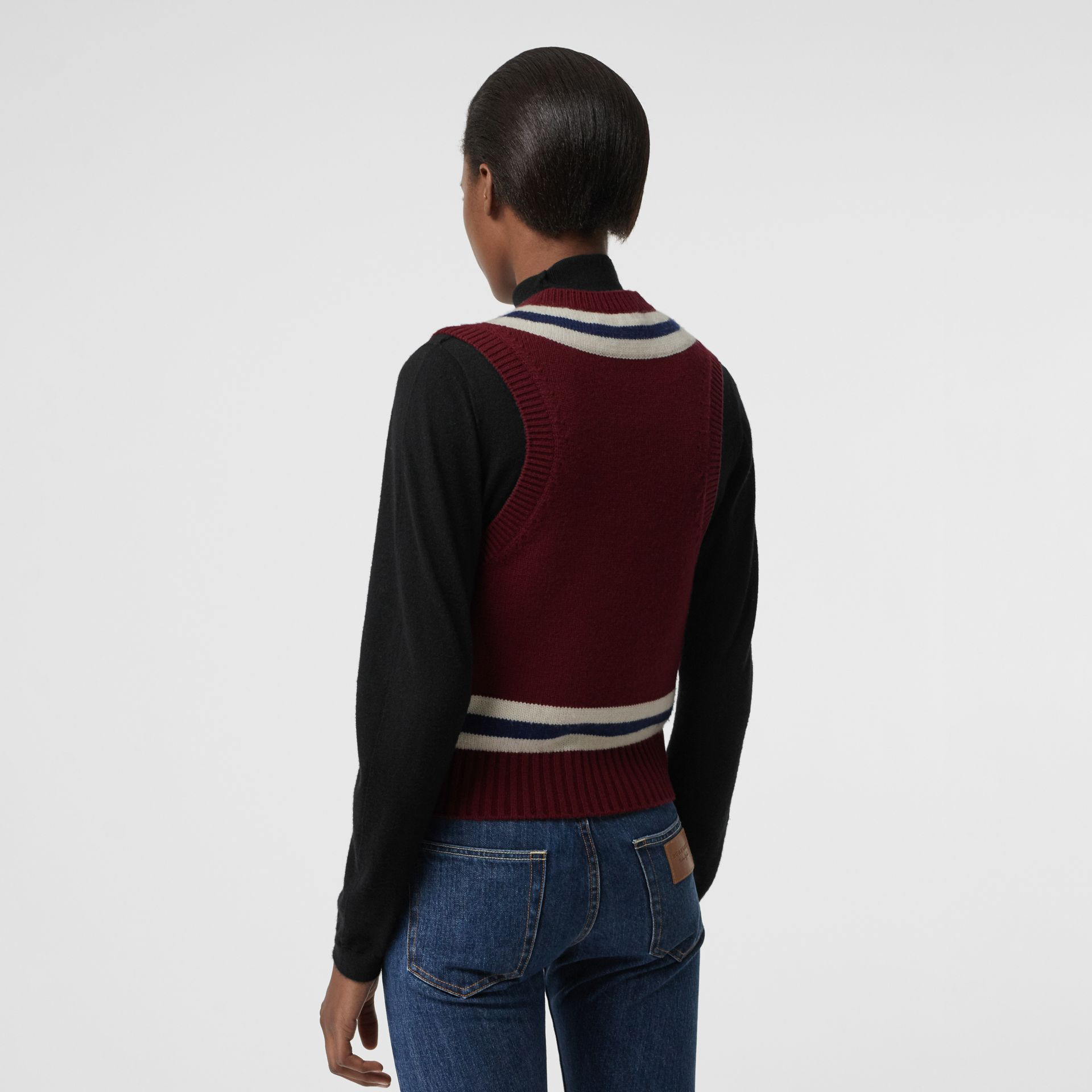 Embroidered Crest Wool Cashmere Tank Top in Burgundy - Women | Burberry - gallery image 2