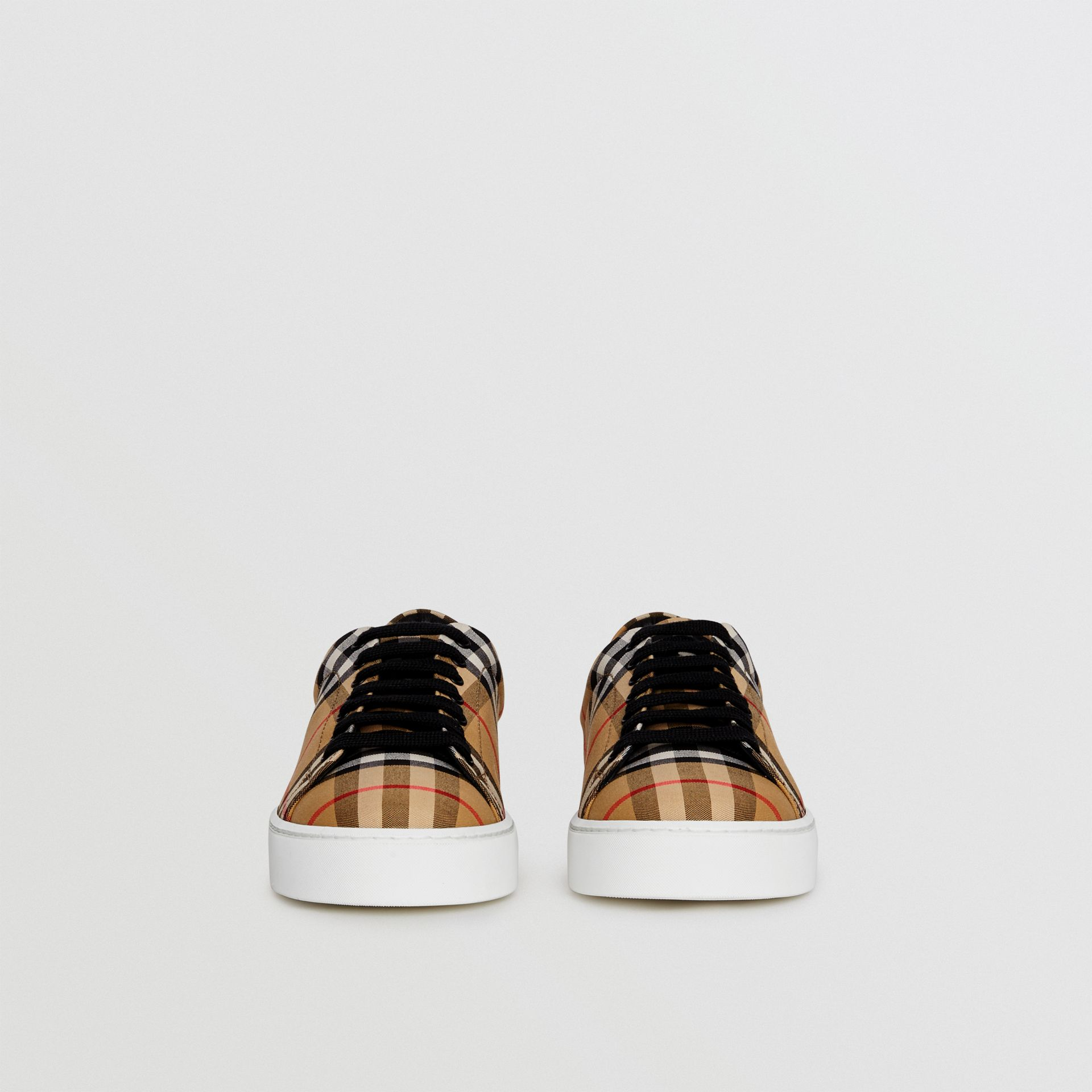Vintage Check and Leather Sneakers in Antique Yellow - Women | Burberry Australia - gallery image 3