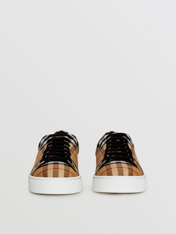 Vintage Check and Leather Sneakers in Antique Yellow - Women | Burberry Australia - cell image 3