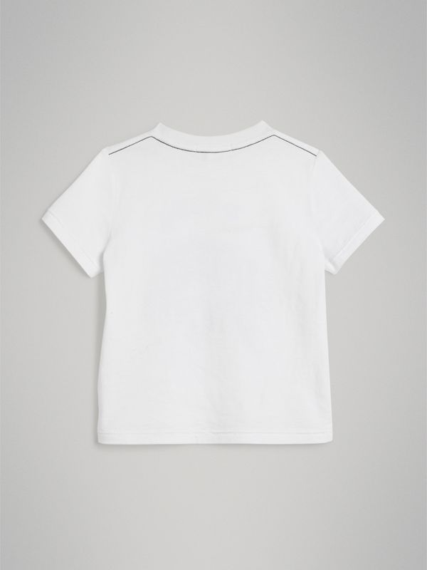 Night Print Cotton T-shirt in White | Burberry - cell image 3