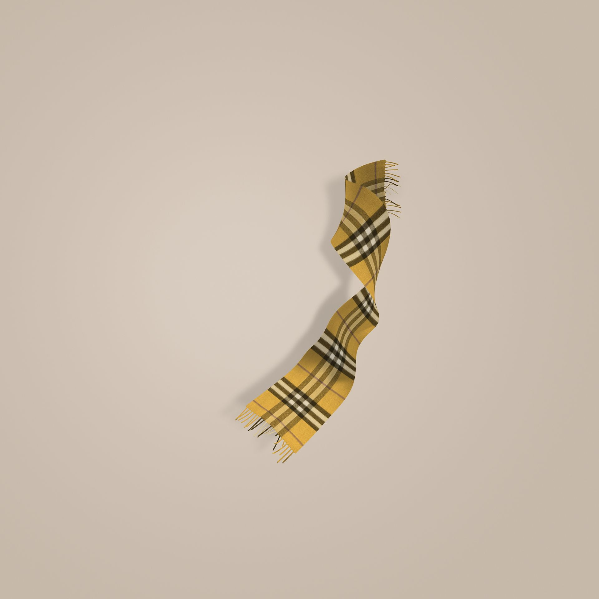 Amber yellow The Mini Classic Cashmere Scarf in Check - gallery image 1