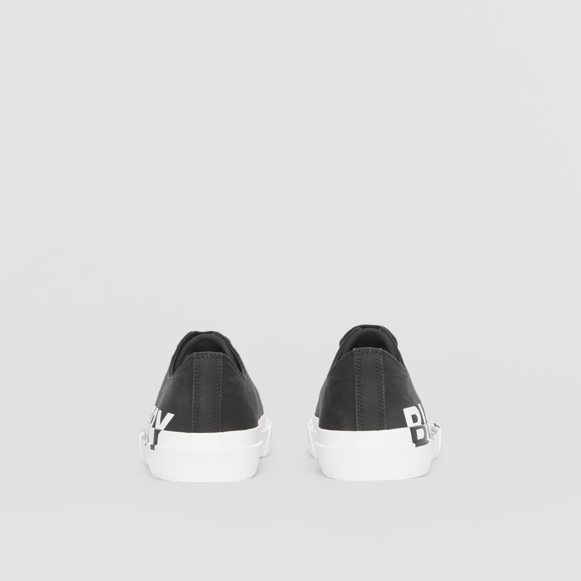 Logo Print Two-tone Cotton Gabardine Sneakers in Black/white - Women | Burberry Canada - gallery image 4