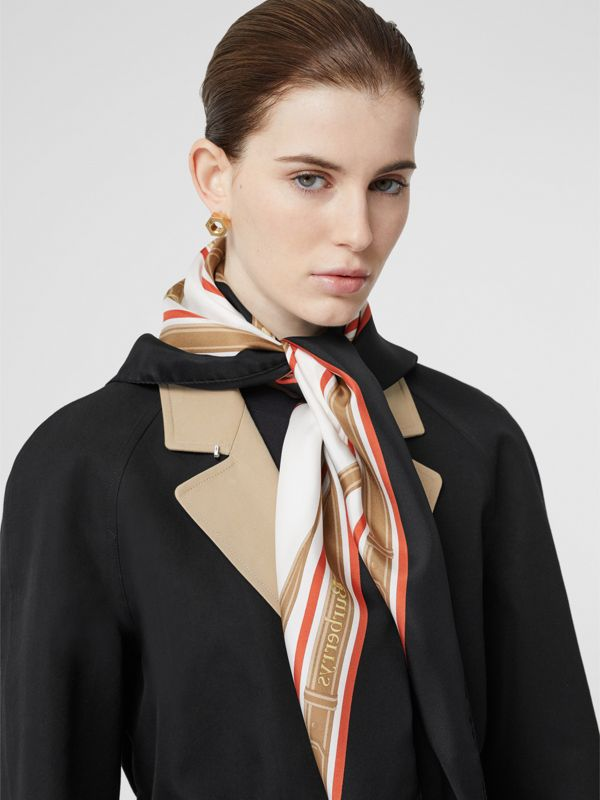 Archive Scarf Print Silk Square Scarf in Black | Burberry Australia - cell image 2