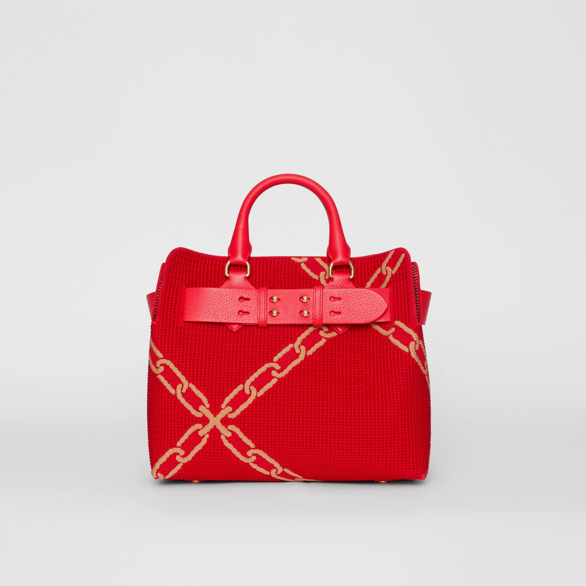 The Small Belt Bag mit Kettenmuster in Strickoptik (Leuchtendes Rot/helles Camelfarben) - Damen | Burberry - Galerie-Bild 0