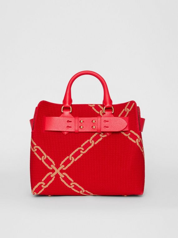 The Small Knitted Link Belt Bag in Bright Red/light Camel