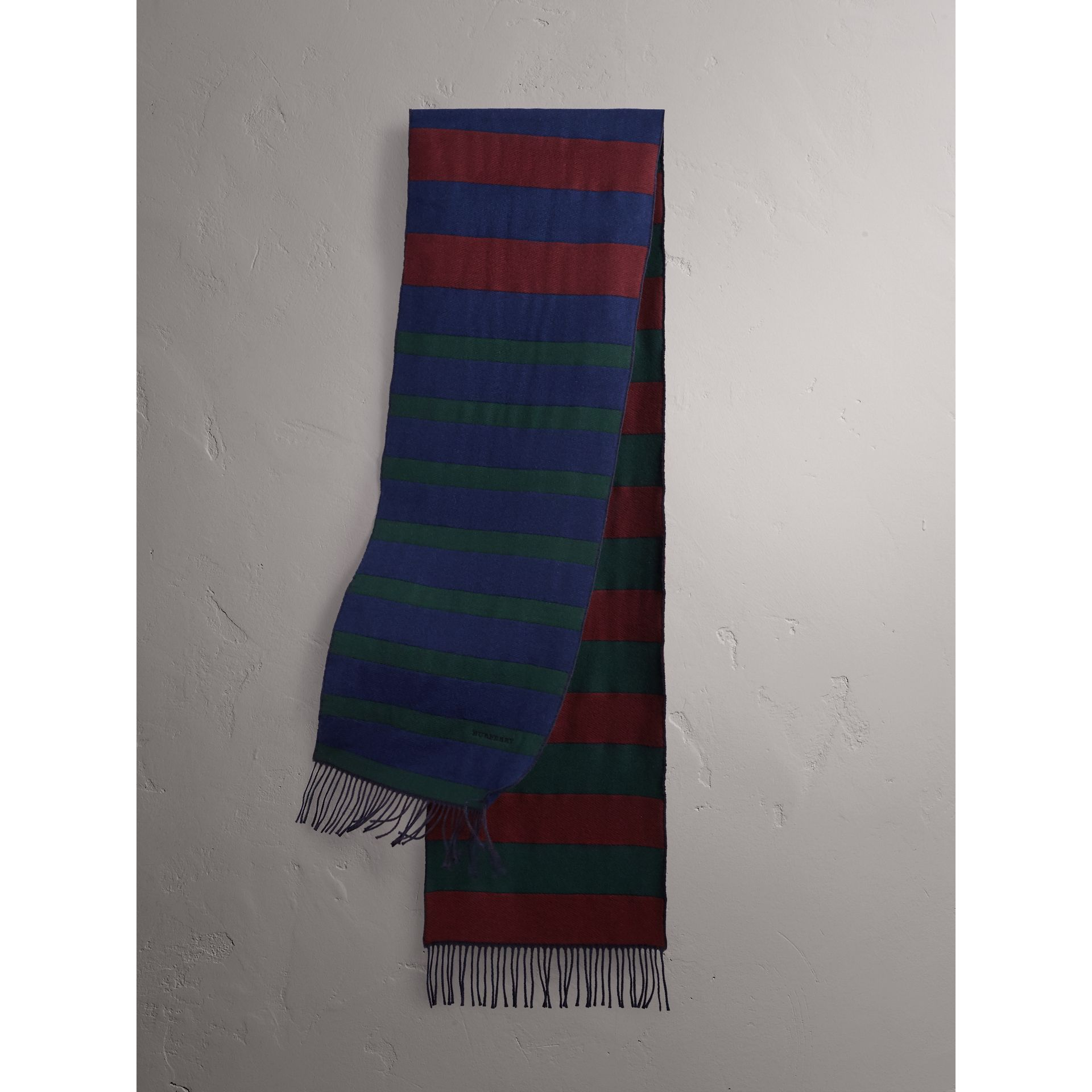 Colour-block Striped Wool Cashmere Scarf in Claret/navy | Burberry United Kingdom - gallery image 1