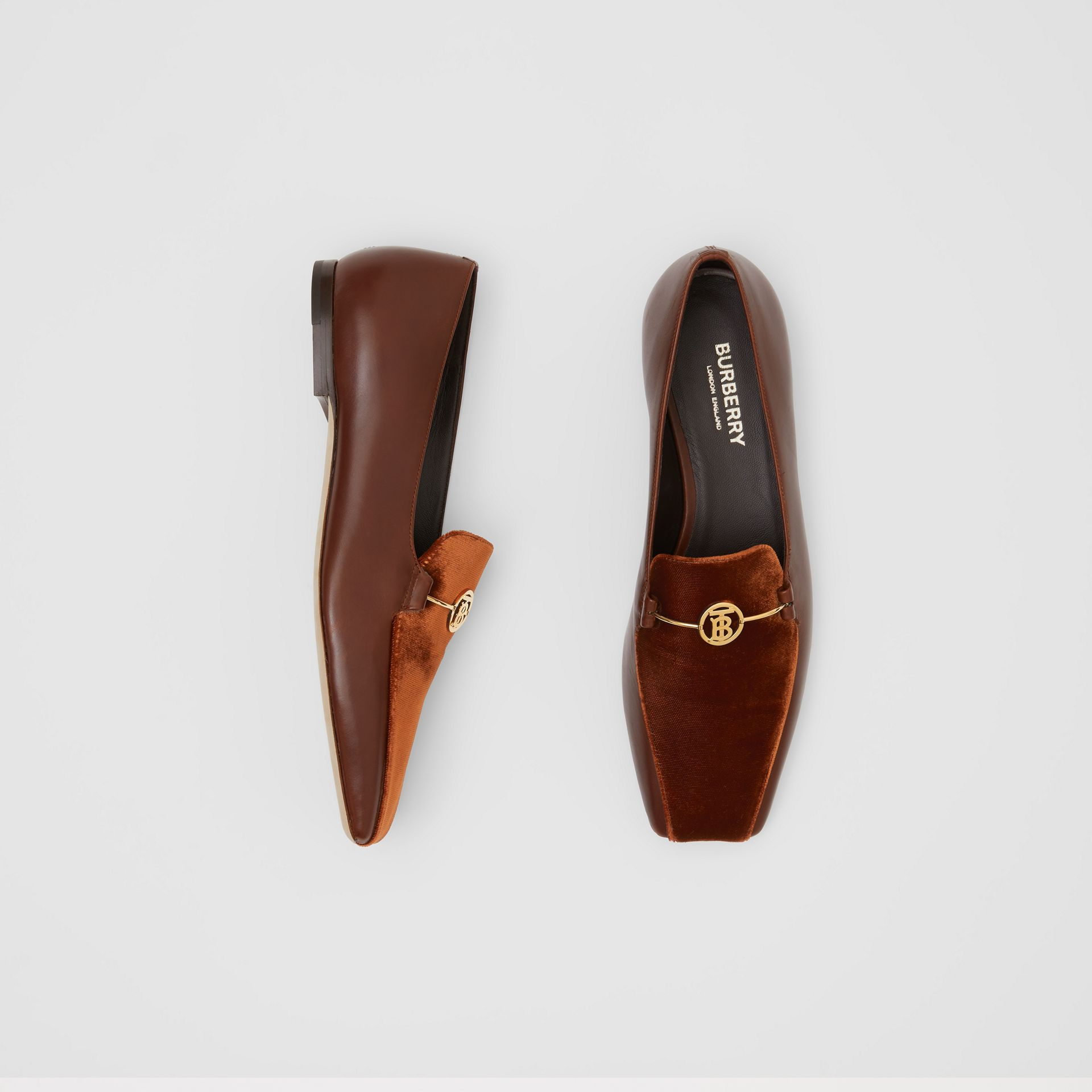 Monogram Motif Velvet and Leather Loafers in Dark Chocolate/tan - Women | Burberry - gallery image 0