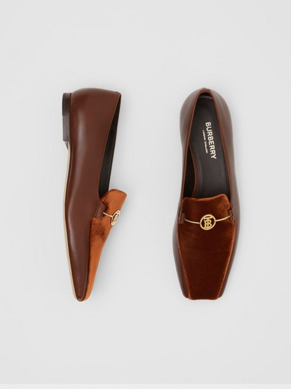 Monogram Motif Velvet and Leather Loafers in Dark Chocolate/tan