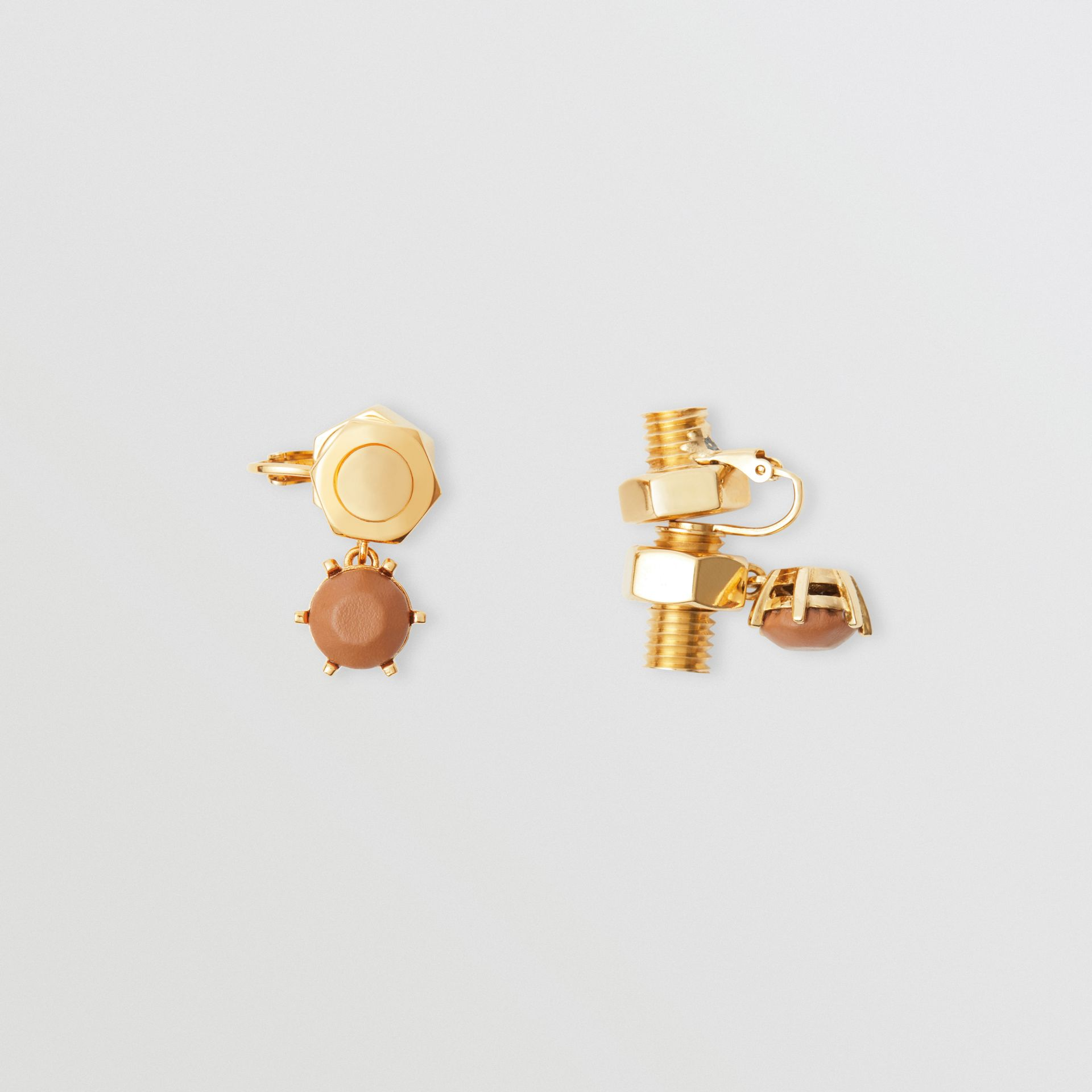 Leather Charm Gold-plated Nut and Bolt Earrings in Nutmeg/light - Women | Burberry - gallery image 3