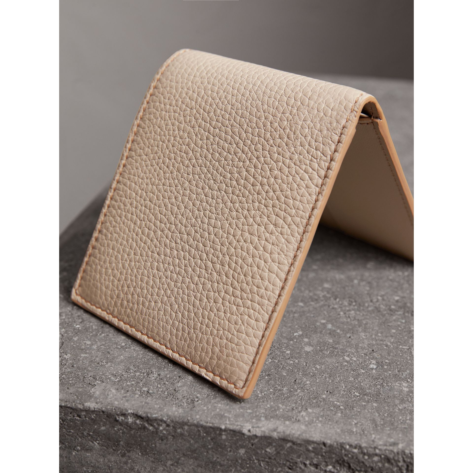 Embossed Leather Bifold Wallet in Chino - Men | Burberry - gallery image 3