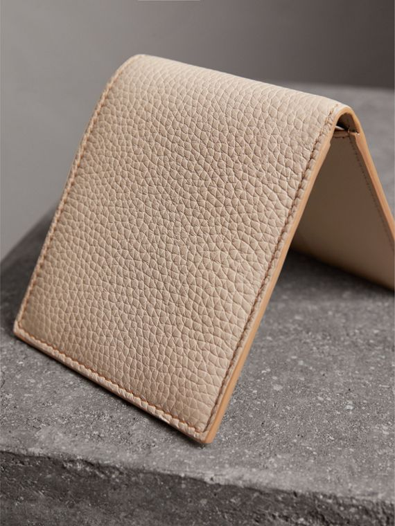 Embossed Leather Bifold Wallet in Chino - Men | Burberry - cell image 2