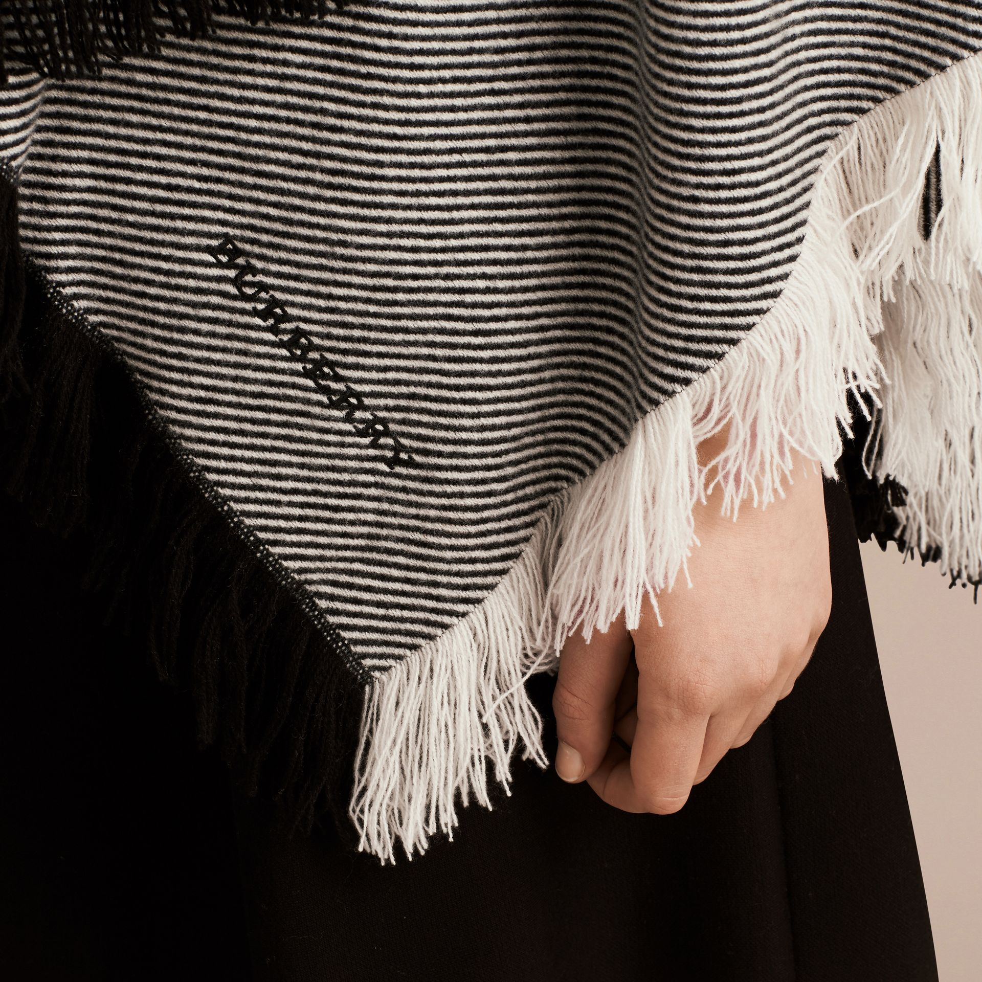 Black/white Fringed Wool Cashmere Poncho - gallery image 2