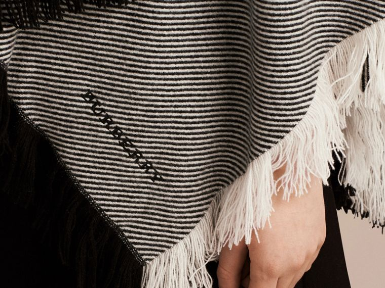 Black/white Fringed Wool Cashmere Poncho - cell image 1