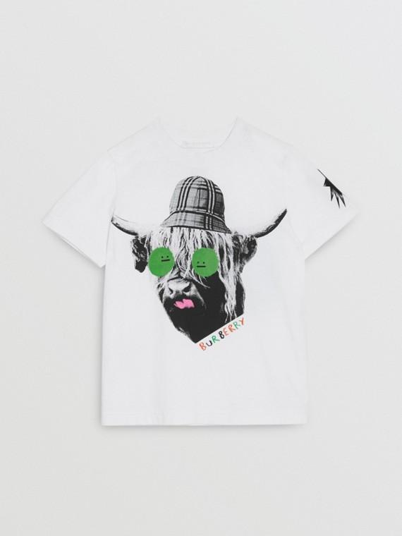 Camiseta en algodón con estampado de vaca de las Tierras Altas (Blanco)