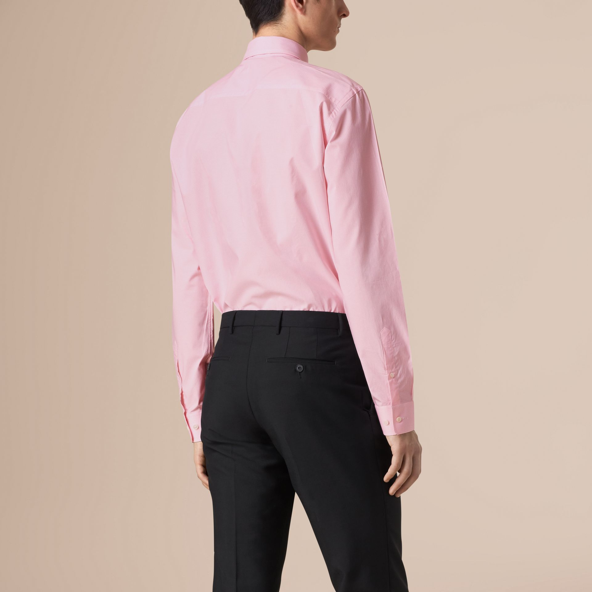Modern Fit Button-down Collar Gingham Cotton Shirt in City Pink - gallery image 3