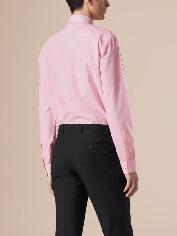 Modern Fit Button-down Collar Gingham Cotton Shirt in City Pink - cell image 2