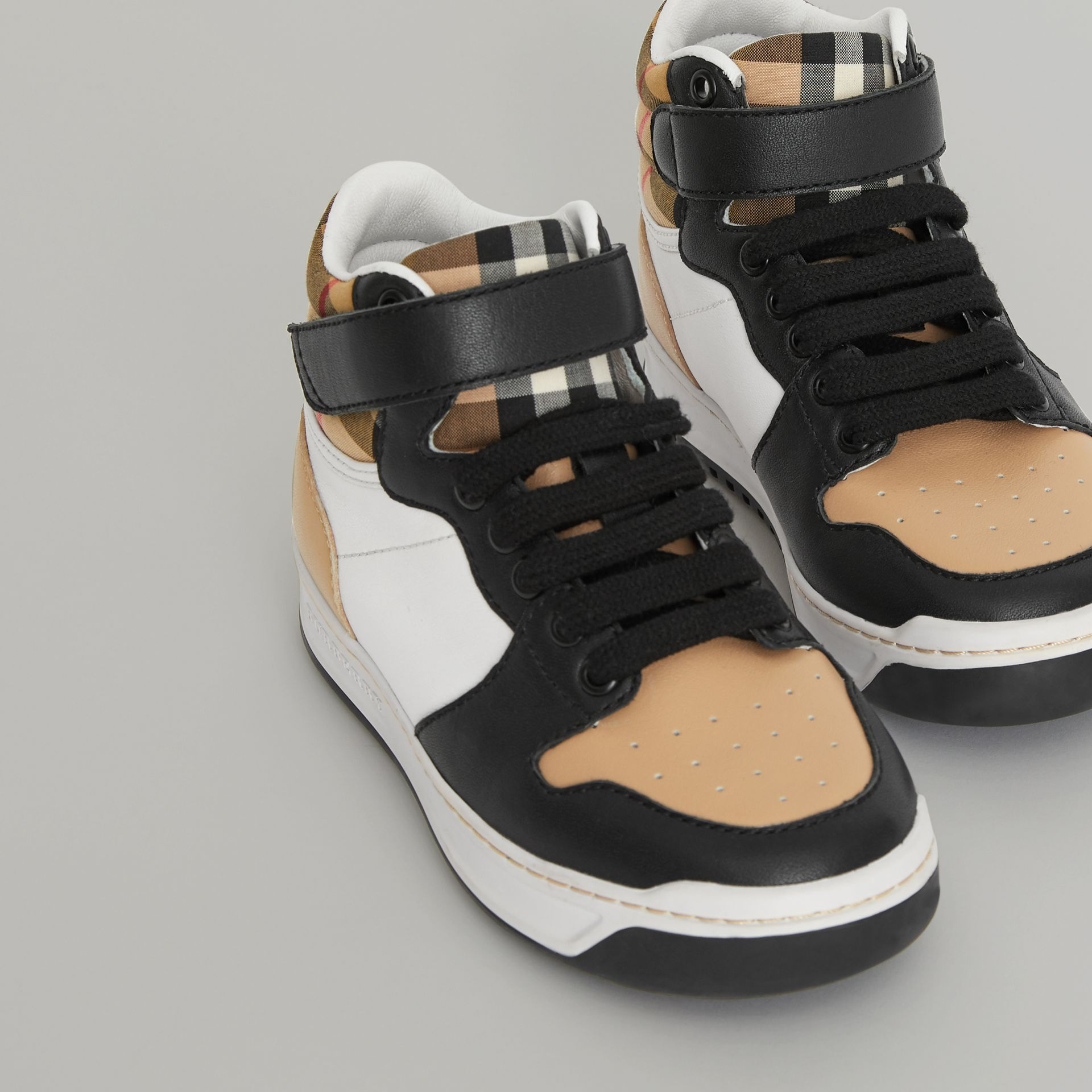 Vintage Check and Leather High-top Sneakers in Antique Yellow - Children | Burberry - gallery image 1