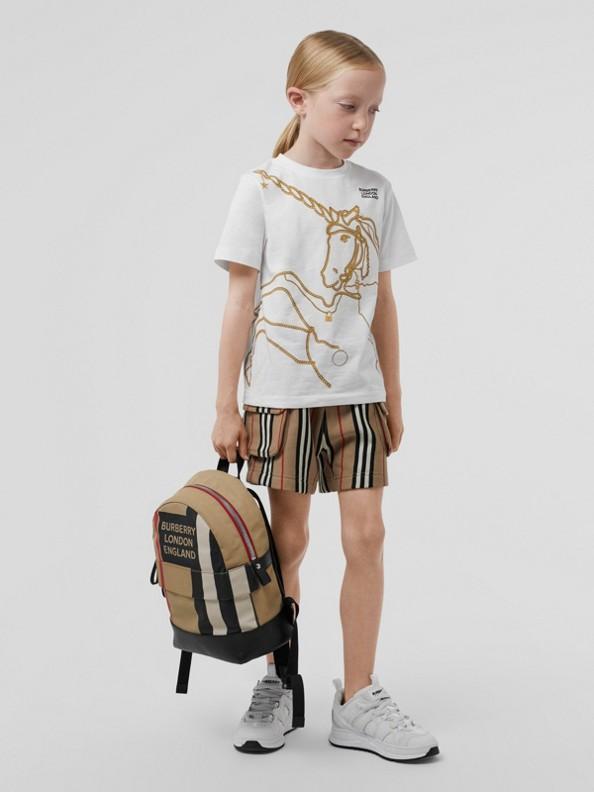 체인 프린트 코튼 티셔츠 (화이트)
