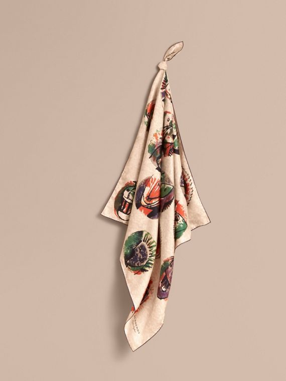 Foulard piccolo in seta con stampa Pallas Heads