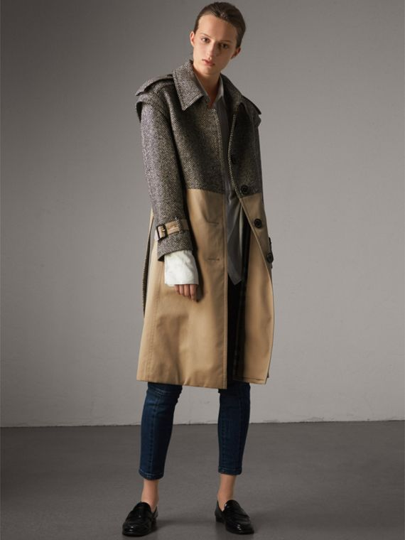 Donegal Tweed and Cotton Gabardine Trench Coat - Women | Burberry Singapore