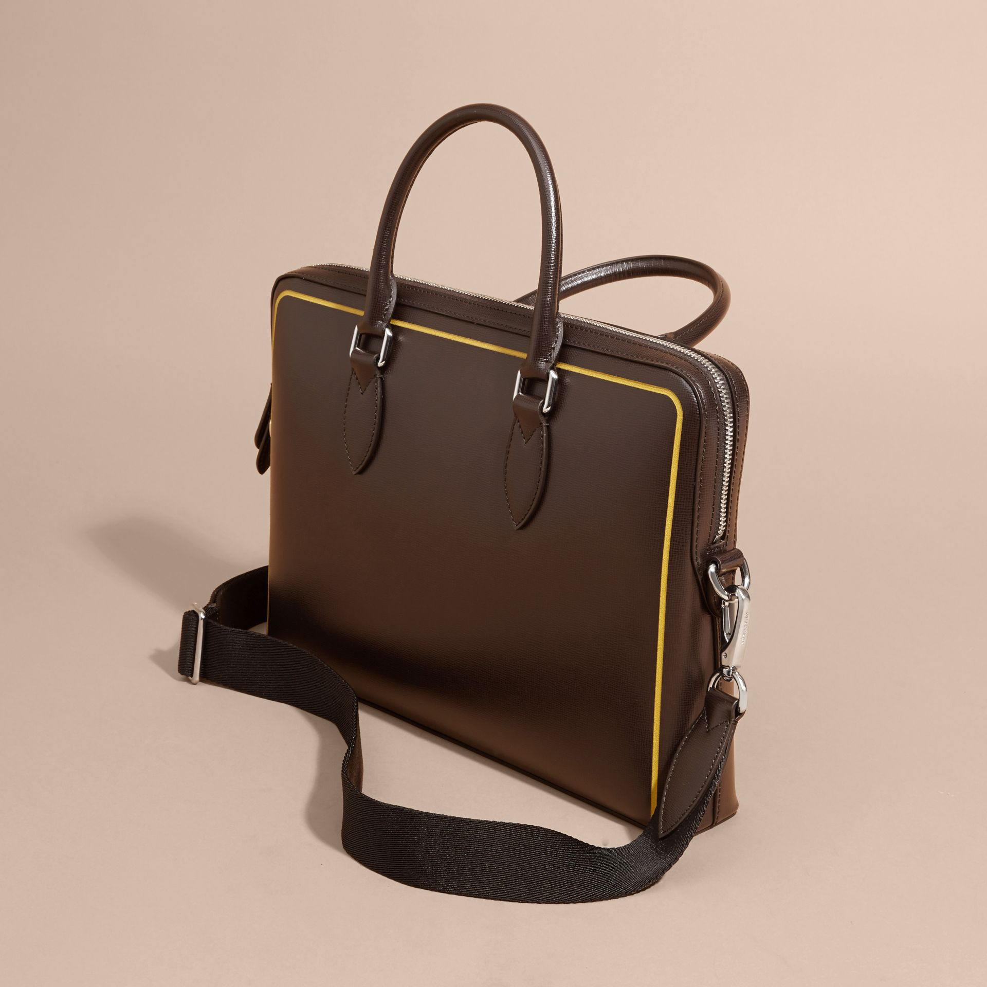 The Slim Barrow Bag in London Leather with Border Detail Peppercorn - gallery image 5