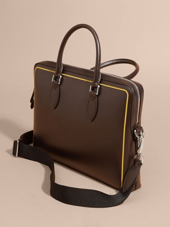Peppercorn The Slim Barrow Bag in London Leather with Border Detail Peppercorn - cell image 2