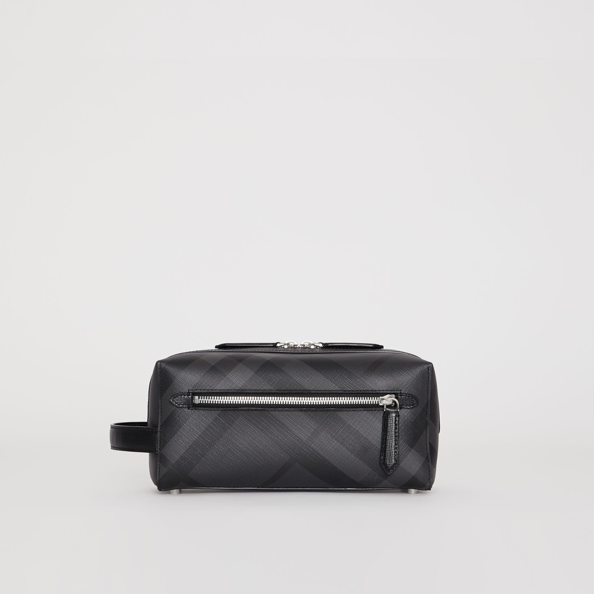 London Check and Leather Pouch in Charcoal/black | Burberry United Kingdom - gallery image 7