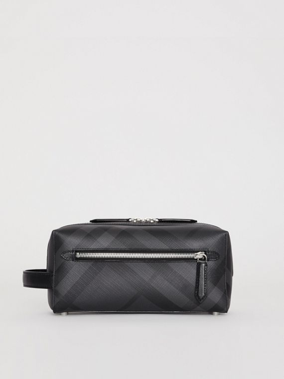 Trousse con pelle e motivo London check (Nero Fumo/nero)