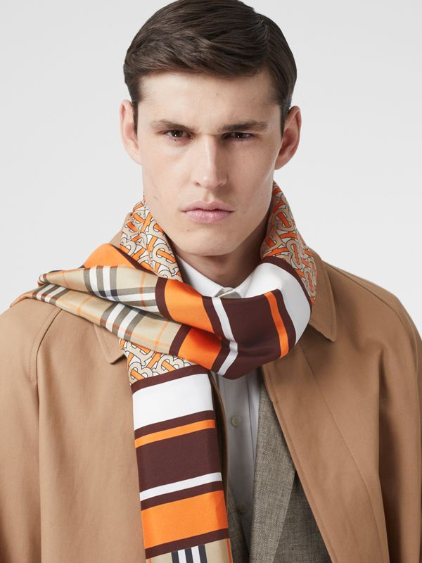 Monogram, Icon Stripe and Check Print Silk Scarf in Bright Orange | Burberry United Kingdom - cell image 3
