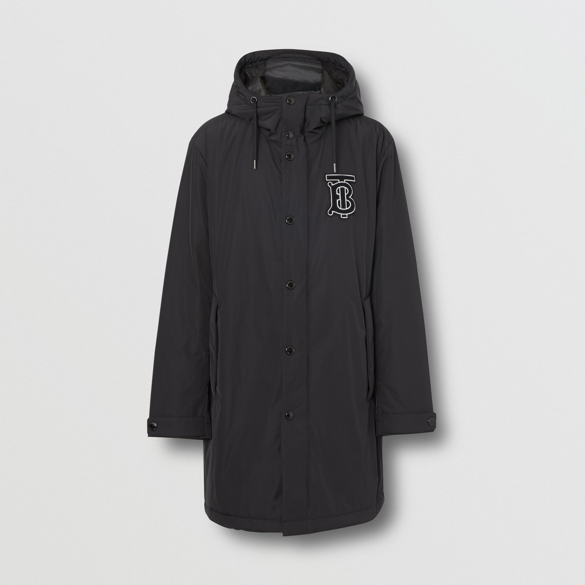 Monogram Motif Nylon Twill Hooded Coat in Black - Men | Burberry Canada - gallery image 3