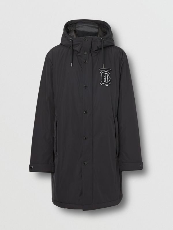Monogram Motif Nylon Twill Hooded Coat in Black - Men | Burberry Canada - cell image 3