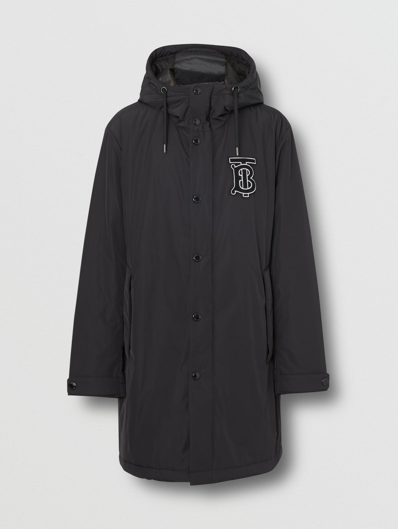 Monogram Motif Nylon Twill Hooded Coat in Black